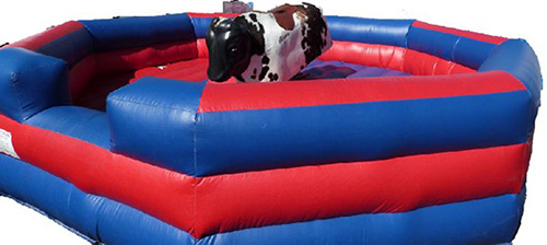 Our red and blue octagonal ring mechanical bull. This bull is our standard mechanical bull rental and is the most popular. It is also the smallest, so it can fit in tight spaces. Available for rental in Aurora, Barrington, Elburn, St Charles, Winfield, and anywhere else in Illinois.